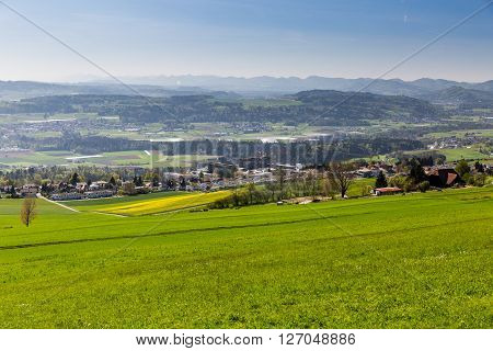 Meadow On Mountain Heitersberg With View To The Hospital In Bellikon