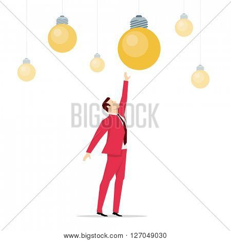 Red suit businessman. Ideas. Vector concept illustration.