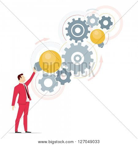 Red suit businessman. Right ideas. Vector concept illustration.