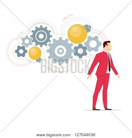 Red suit businessman. Business ideas in mind. Vector concept illustration.