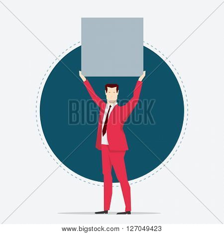 Businessman in red suit. Holding a board. Flat style vector illustration.