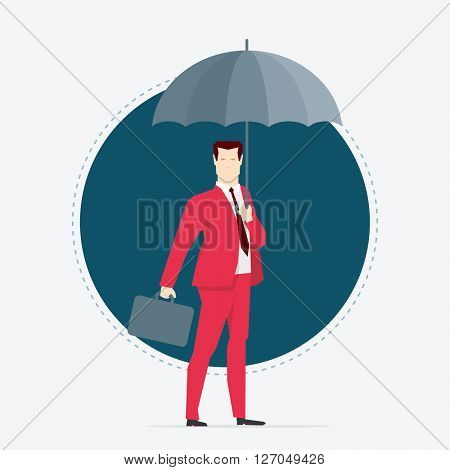 Businessman in red suit. Umbrella. Flat style vector illustration.