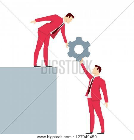 Red suit businessman. Teamwork. Vector concept illustration.