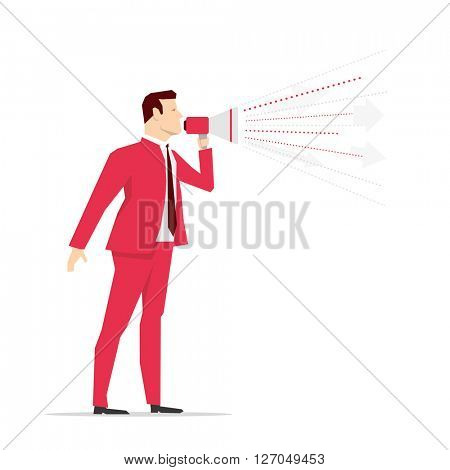 Red suit businessman. Megaphone. Vector concept illustration.