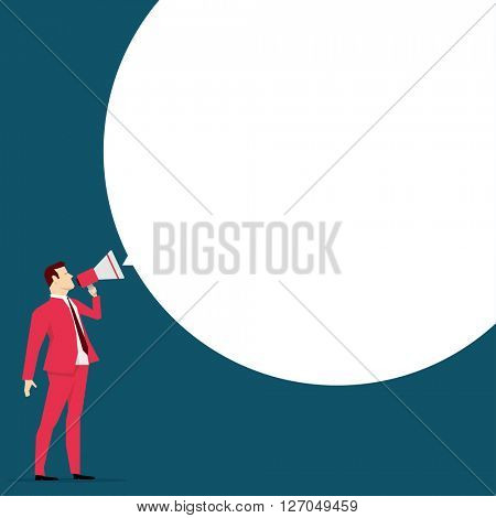 Red suit businessman. Message. Vector concept illustration.