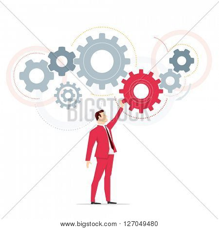Red suit businessman. Work. Vector concept illustration.