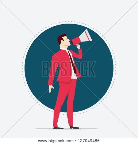 Businessman in red suit. Megaphone. Flat style vector illustration.