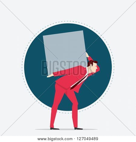 Businessman in red suit. Carrying. Flat style vector illustration.