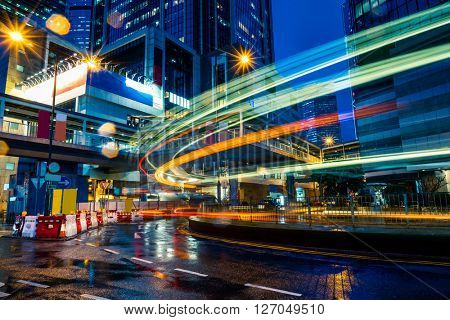 light trails in the downtown district,hongkong china.