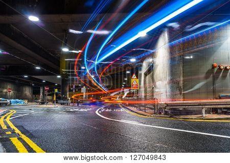 light trails at the underground parking,hongkong china.