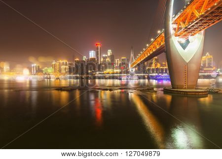 Cityscape of Chongqing at night,china.