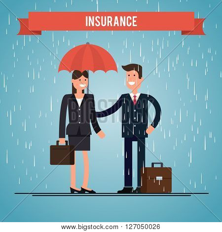 insurance agent for life insurance. protects the woman from the rain