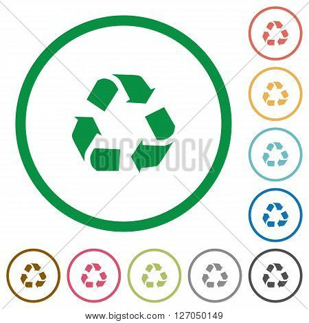 Set of recycling color round outlined flat icons on white background