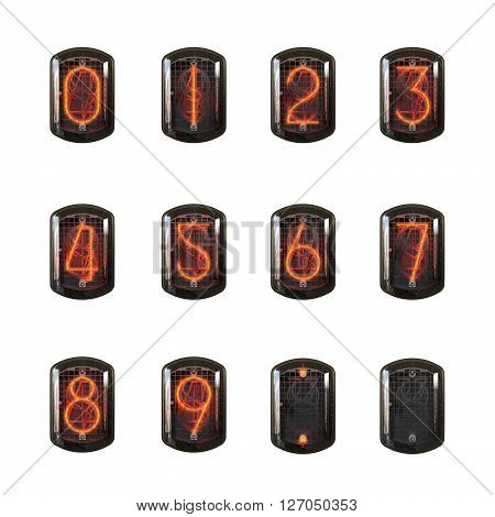 Nixie clock numbers set. Cathode digit in a little glass dome vector illustration 3D Rendering