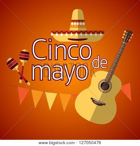 Mexican Traditional Sombrero Maraca Guitar, Mexico National Holiday Cinco De Mayo Flat Vector Illustration