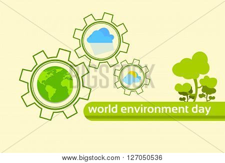 Green Tree Globe Earth Planet Climate World Environment Day Flat Vector Illustration
