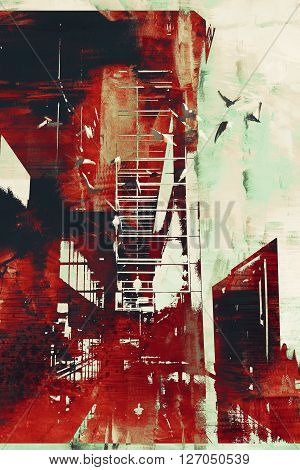abstract architecture with red grunge texture, illustration digital art