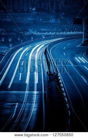 chongqing highway at night,china.