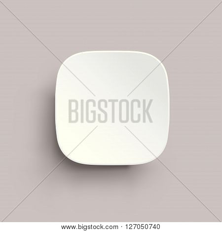 illustration of round corner square with shadow white color on grey background