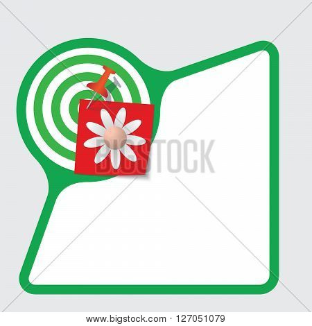 Green abstract frame with paper and flower