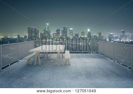 Concrete Balcony Night City View