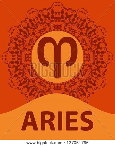 Aries. The Ram. Zodiac icon with mandala print. Vector illustration.