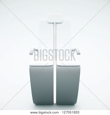 Frontview of futuristic chair on light background. 3D Rendering