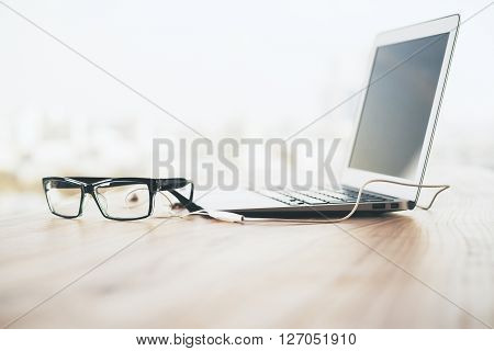 Laptop And Glasses Side