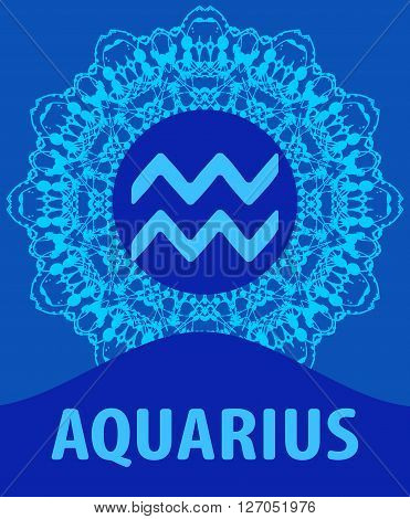 Aquarius. The Water Bearer. Zodiac icon with mandala print. Vector illustration.