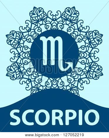 Hand-drawn zodiac Scorpio with ethnic floral geometric doodle pattern. Western Horoscope Symbol. Vector illustration. The Scorpion. Zodiac icon with mandala print. Vector icon.
