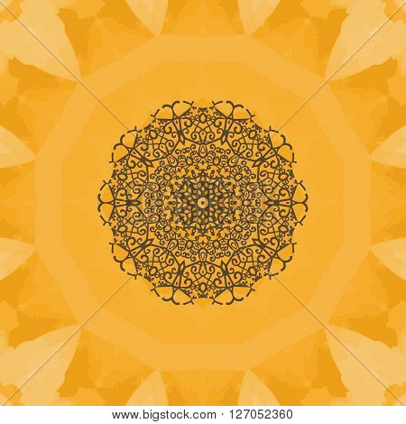 Hand-drawn mandala flower. Elegant mandala-like pattern on yellow seamless watercolor texture. Ornamental round seamless lace pattern. Abstract vector tribal ethnic yoga yantra background seamless motif.