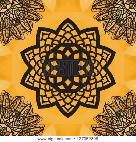 Yoga Ornament, kaleidoscopic floral  yantra. Indian Art Print. . Seamless ornament lace. Oriental vector pattern. Islamic, Arabic, Indian, Turkish, Pakistan, Chinese, Asian, Moroccan, Ottoman motifs. Mandala outlined.
