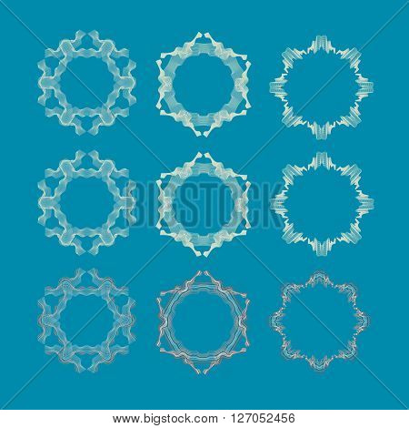 Vector illustration with set of isolated rosettes.