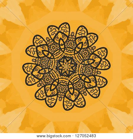 Yoga Print. Ornament, kaleidoscopic floral  yantra. Indian Art. Seamless ornament lace. Oriental vector pattern. Islamic, Arabic, Indian, Turkish, Pakistan, Chinese, Asian, Moroccan, Ottoman motifs. Mandala outlined.