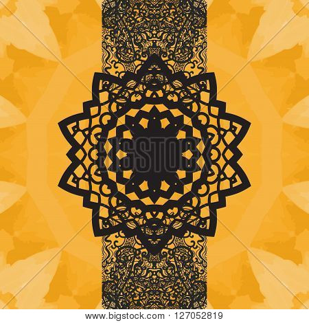 Indian Yoga Ornament, kaleidoscopic floral pattern, yantra in center. Seamless ornament lace.Oriental vector pattern. Islamic, Arabic, Indian, Turkish, Pakistan, Chinese, Asian, Moroccan, Ottoman motifs. Mandala-like design