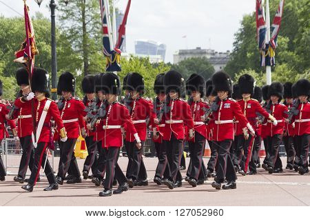 London, England - June 01, 2015: British Royal Guards Perform The Changing Of The Guard In Buckingha