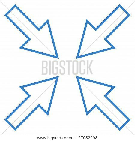 Compact Arrows vector icon. Style is thin line icon symbol, cobalt color, white background.