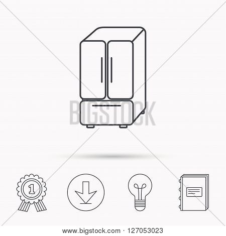 American fridge icon. Refrigerator sign. Download arrow, lamp, learn book and award medal icons.