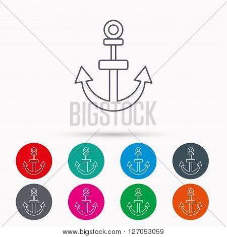 Anchor icon. Nautical drogue sign. Sea and sailing symbol. Linear icons in circles on white background.