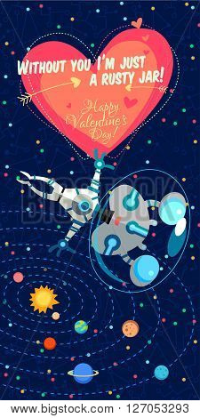 Vector Illustrationabout Outer Space For Valentines Day.