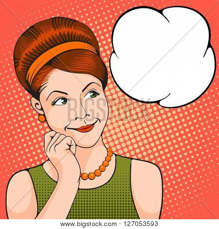 Young women thinking about something pleasant. Pop Art girl. Vector illustration in retro style pop art.