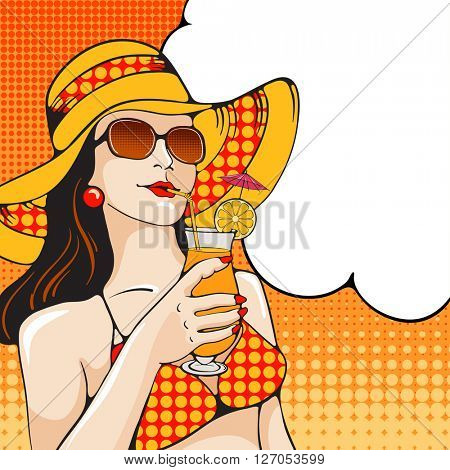 Young women in swimsuit holding tropical cocktail on the beach. Pop Art girl. Vector illustration in retro style pop art.