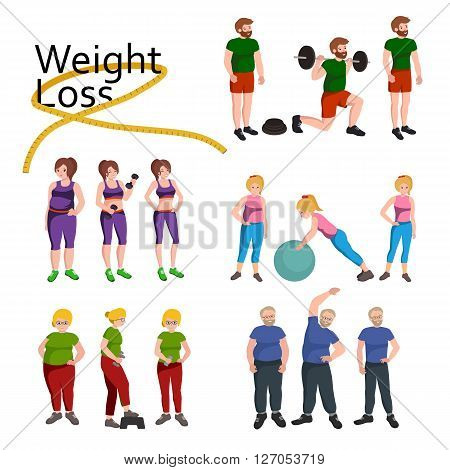 People with different body mass. Weight loss people, before and after weight loss, old and young people doing exercise Healthy fitness and sport family.
