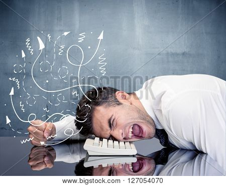 A depressed businessman resting his head on a keyboard and shouting with illustration of ideas, arrows, lines leaving his head concept