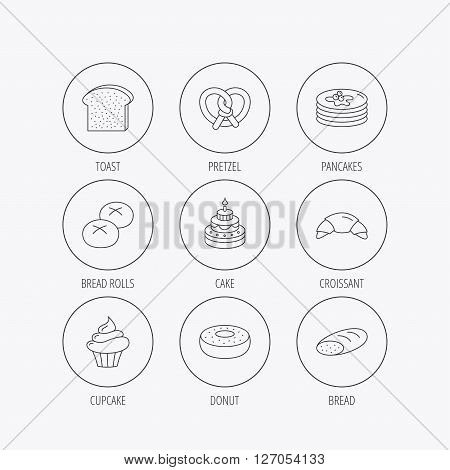 Croissant, pretzel and bread icons. Cupcake, cake and sweet donut linear signs. Pancakes, toast and bread rolls flat line icons. Linear colored in circle edge icons.
