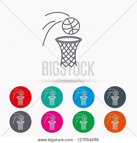 Basketball icon. Basket with ball sign. Professional sport equipment symbol. Linear icons in circles on white background.