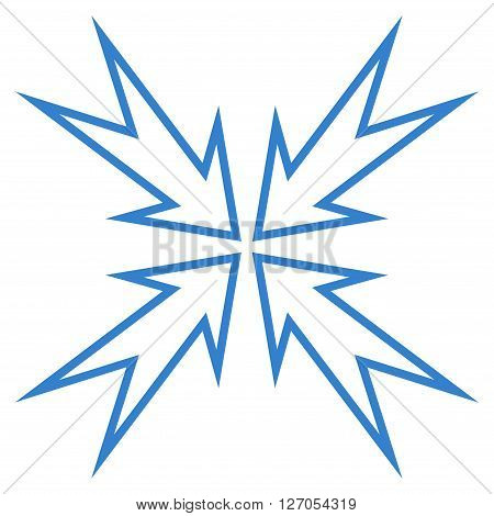 Meeting Point vector icon. Style is contour icon symbol, cobalt color, white background.