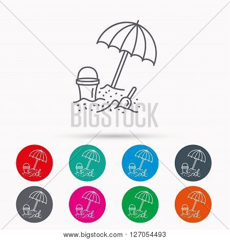 Beach umbrella in sand icon. Bucket with shovel sign. Baby summer games symbol. Linear icons in circles on white background.