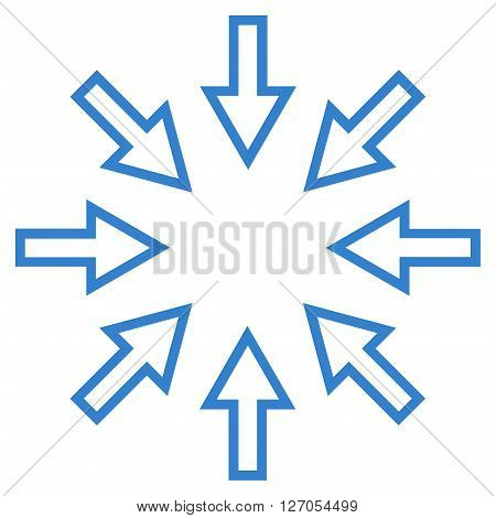 Pressure Arrows vector icon. Style is stroke icon symbol, cobalt color, white background.