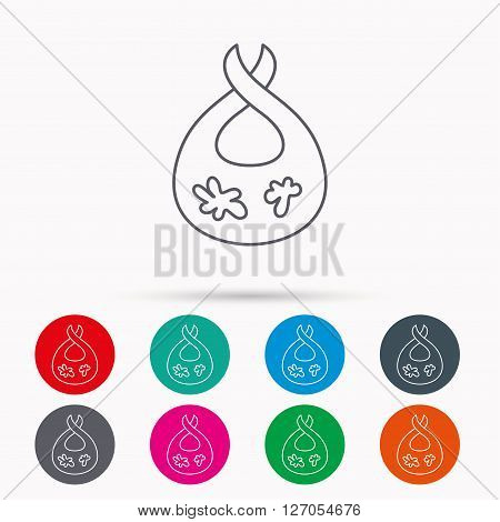 Bib with dirty spots icon. Baby clothes sign. Feeding wear symbol. Linear icons in circles on white background.